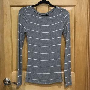 BCBGMAXAZRIA long sleeve gray striped t-shirt